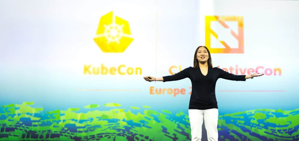 Cheryl on stage at Kubecon Europe 2019